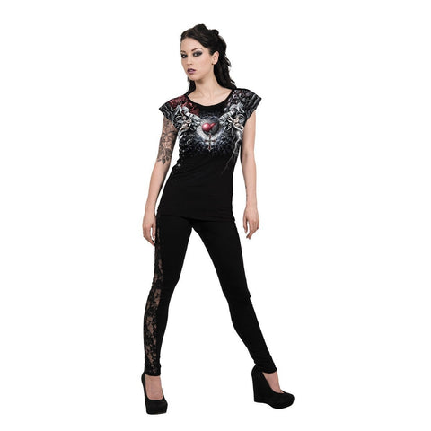 LIFE AND DEATH CROSS - Allover Cap Sleeve Top Black - Spiral USA