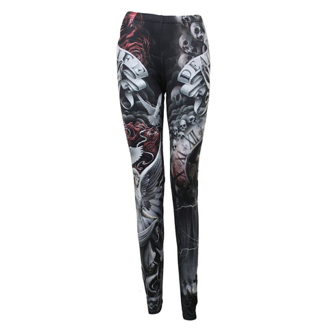 Image of LIFE AND DEATH CROSS - Allover Comfy Fit Leggings Black