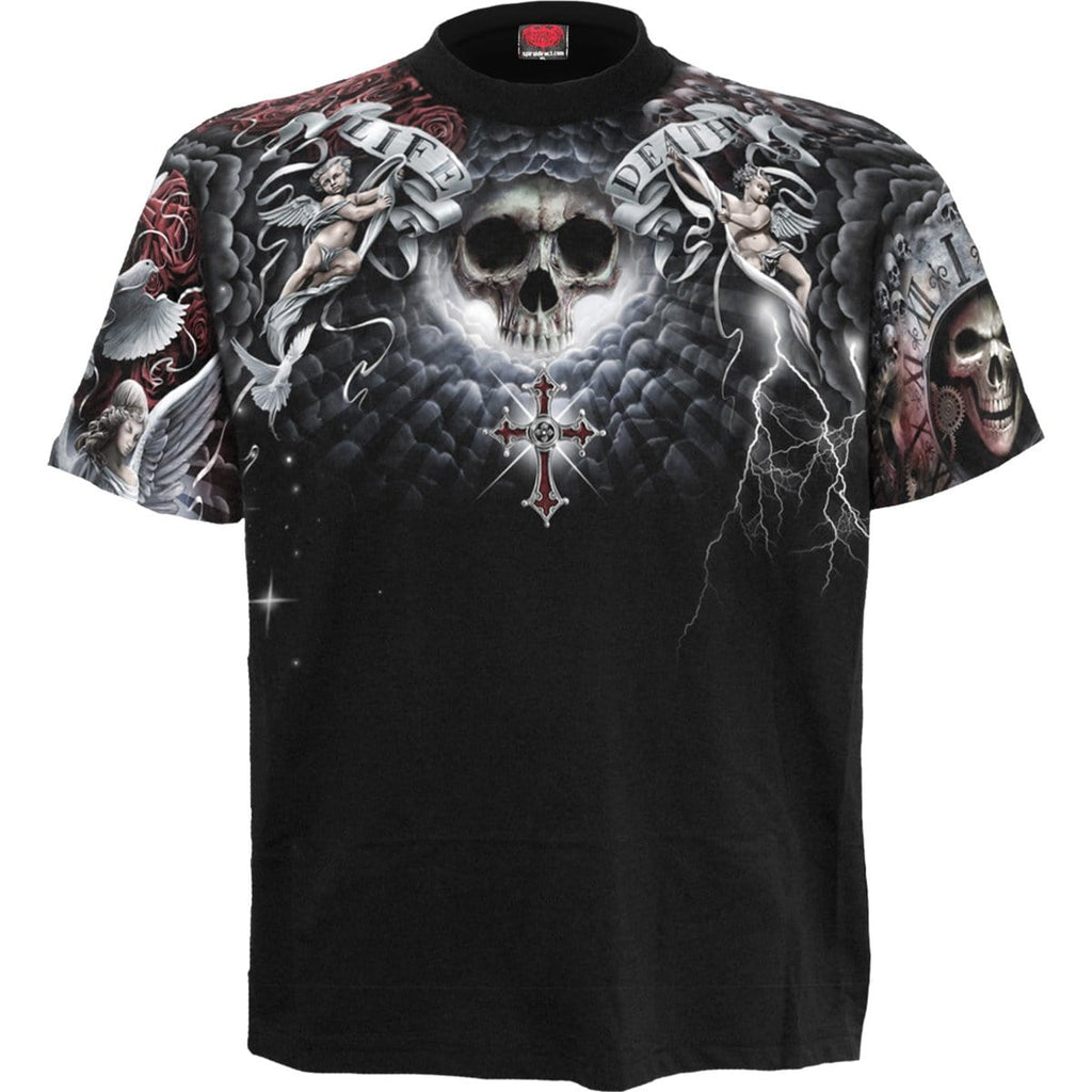 LIFE AND DEATH CROSS - Allover T-Shirt Black - Spiral USA