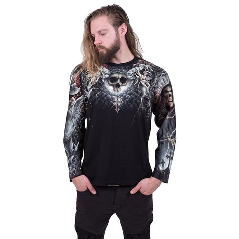 Image of LIFE AND DEATH CROSS - Allover Longsleeve T-Shirt Black - Spiral USA
