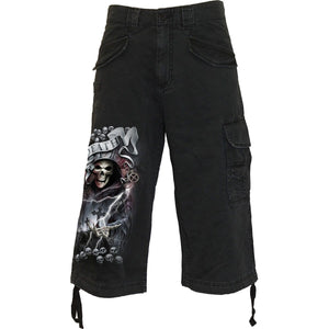 LIFE AND DEATH CROSS - Vintage Cargo Shorts 3/4 Long Black - Spiral USA