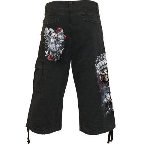 LIFE AND DEATH CROSS - Vintage Cargo Shorts 3/4 Long Black