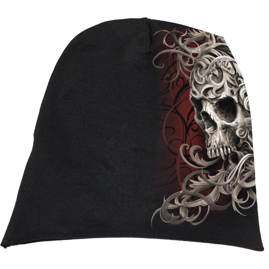 SKULL SHOULDER WRAP - Light Cotton Beanies Black - Spiral USA