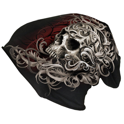 Image of SKULL SHOULDER WRAP - Light Cotton Beanies Black - Spiral USA