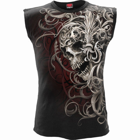SKULL SHOULDER WRAP - Allover Sleeveless T-Shirt Black - Spiral USA