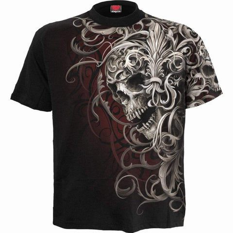 Image of SKULL SHOULDER WRAP - Allover T-Shirt Black - Spiral USA