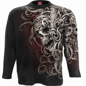 SKULL SHOULDER WRAP - Allover Longsleeve T-Shirt Black - Spiral USA