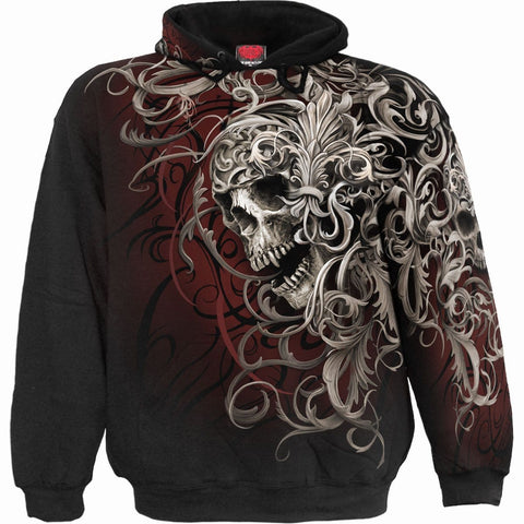 Image of SKULL SHOULDER WRAP - Allover Hoody Black - Spiral USA