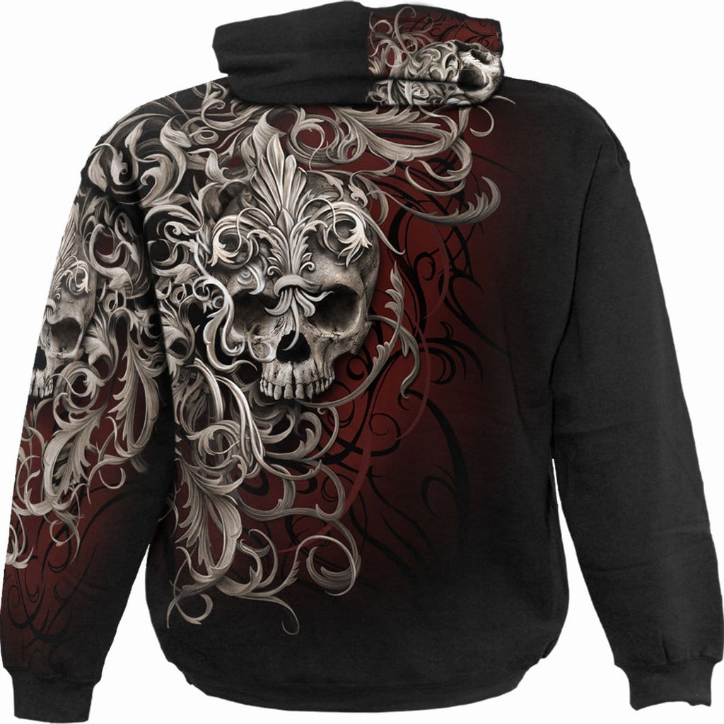 SKULL SHOULDER WRAP - Allover Hoody Black - Spiral USA