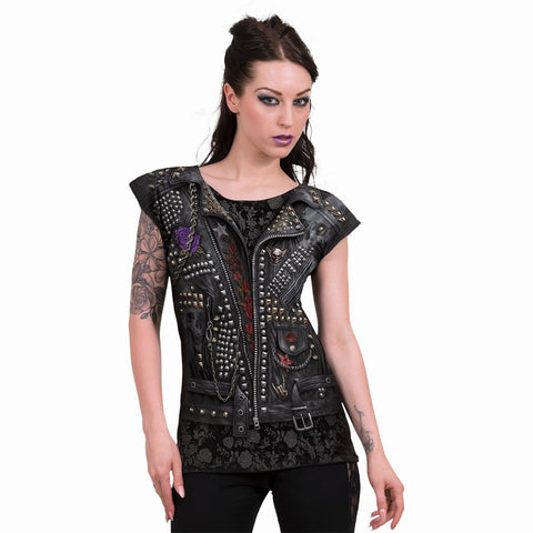 GOTH METAL - Allover Cap Sleeve Top Black - Spiral USA