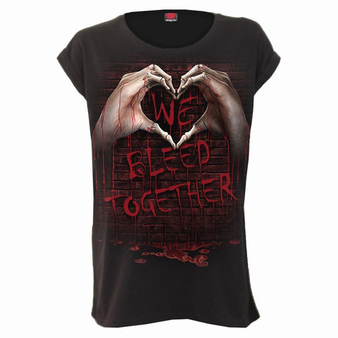 Image of WE BLEED TOGETHER - Turnup Sleeve Loosefit Tee - Spiral USA