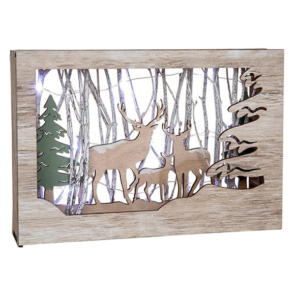 Frosty Forest 3D Wooden Stag Frame