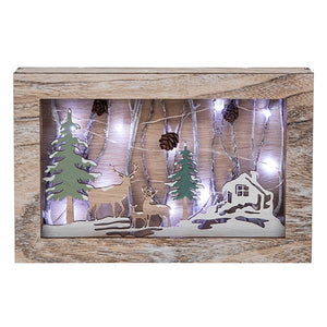 Frosty Forest Stag LED Wooden Frame