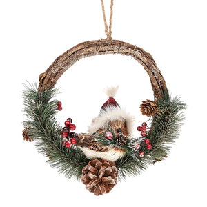 Country Christmas Robin Wreath Decoration