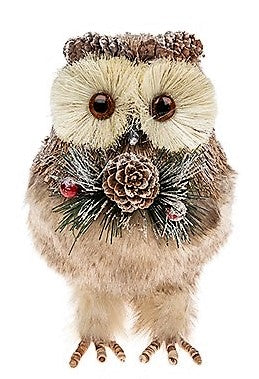 Country Christmas Bristle Owl Decoration