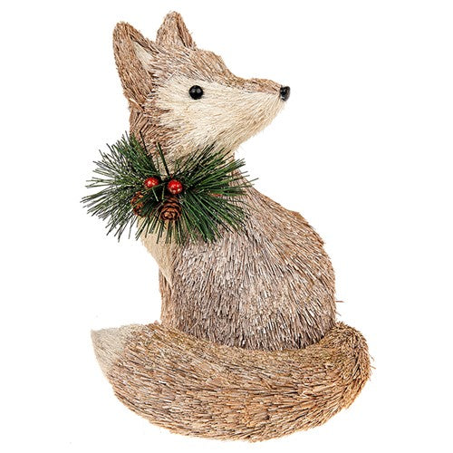 Country Christmas Large Bristle Fox Decoration
