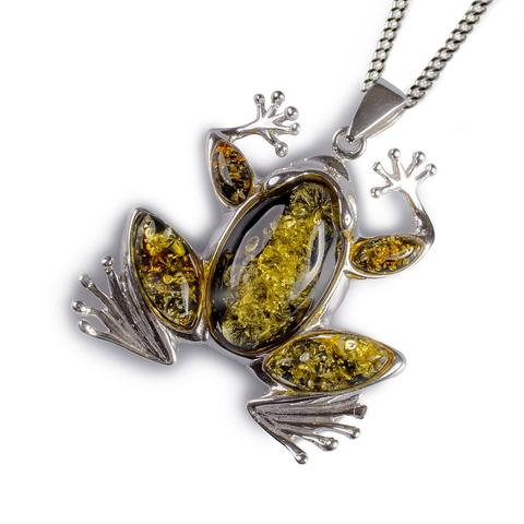 Amber & Silver Frog Pendant 1