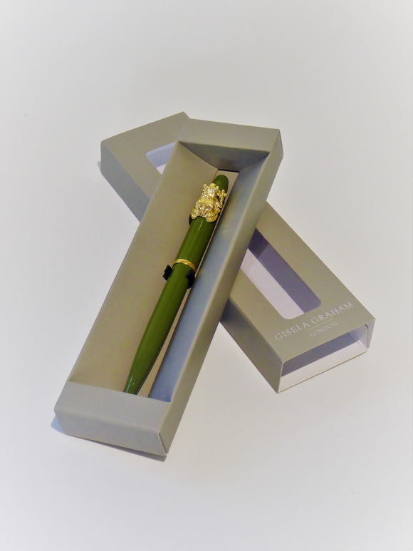 Gold Frog Green Boxed Pen 1