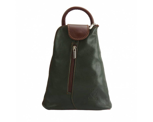 Made In Tuscany Michela Leather Backpack Backpack Made in Tuscany Dark Green/Brown