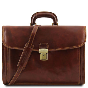 Tuscany Leather Classic 'Napoli' Leather Laptop Briefcase Laptop Briefcase Tuscany Leather Brown