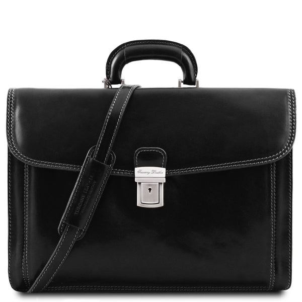 Tuscany Leather Classic 'Napoli' Leather Laptop Briefcase Laptop Briefcase Tuscany Leather Black