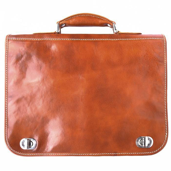 Made In Tuscany Leather Briefcase With Two Compartments Laptop Briefcase Tuscany Leather Tan