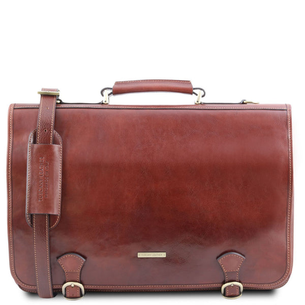 Tuscany Leather TL 'Ancona' Leather Briefcase (TL141853) Briefcase Tuscany Leather Brown
