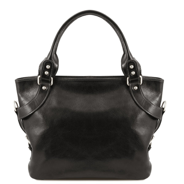 Tuscany Leather Classic 'Ilenia' Leather Shoulder Handbag Handbag Tuscany Leather Black
