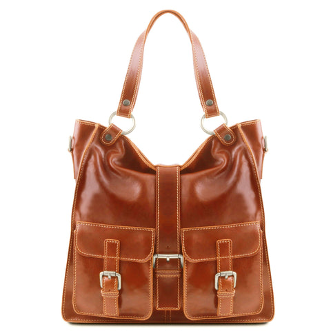Tuscany Leather Classic Melissa Ladies Leather Shoulder Bag Ladies Shoulder Bag Tuscany Leather Honey