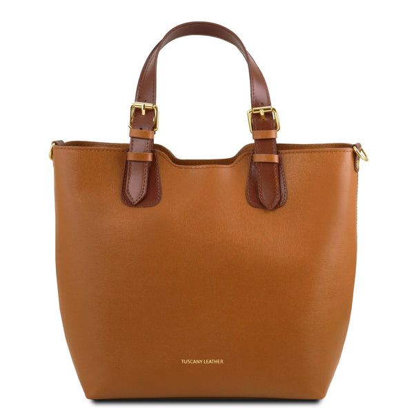 Tuscany Leather TL Bag Saffiano Leather Handbag Bag (TL141696) Handbag Tuscany Leather Cognac