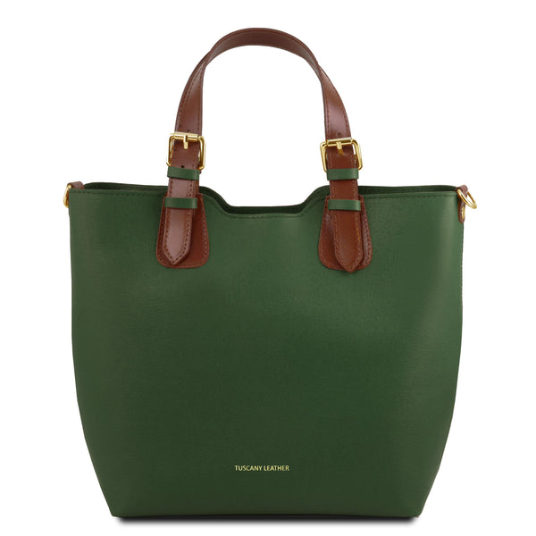 Tuscany Leather TL Bag Saffiano Leather Handbag Bag (TL141696) Handbag Tuscany Leather Green