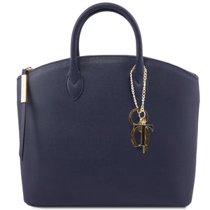 Tuscany Leather 'Keyluck' Saffiano Leather Shoulder Tote Bag Ladies Shoulder Bag Tuscany Leather Dark Blue