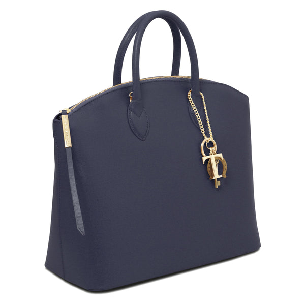 Tuscany Leather 'Keyluck' Saffiano Leather Shoulder Tote Bag Ladies Shoulder Bag Tuscany Leather