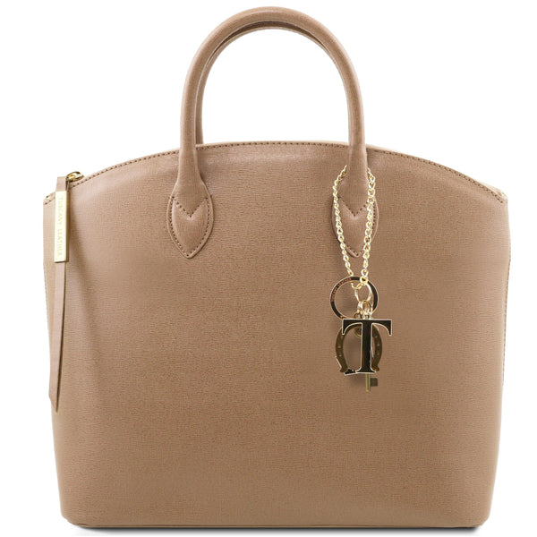 Tuscany Leather 'Keyluck' Saffiano Leather Shoulder Tote Bag Ladies Shoulder Bag Tuscany Leather Caramel