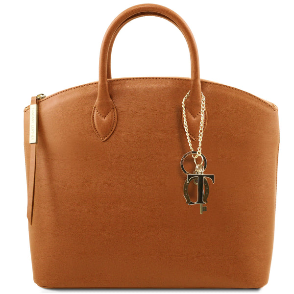 Tuscany Leather 'Keyluck' Saffiano Leather Shoulder Tote Bag Ladies Shoulder Bag Tuscany Leather Cognac