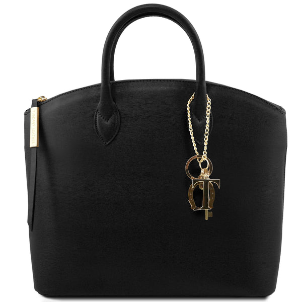 Tuscany Leather 'Keyluck' Saffiano Leather Shoulder Tote Bag Ladies Shoulder Bag Tuscany Leather Black