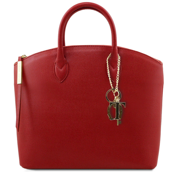 Tuscany Leather 'Keyluck' Saffiano Leather Shoulder Tote Bag Ladies Shoulder Bag Tuscany Leather Red