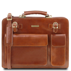 Tuscany Leather 1st Class 'Venezia' 2 Compartment Leather Briefcase Laptop Briefcase Tuscany Leather Honey
