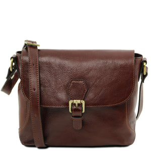 Tuscany Leather Classic 'Jody' Leather Shoulder Bag With Flap Ladies Shoulder Bag Tuscany Leather Brown