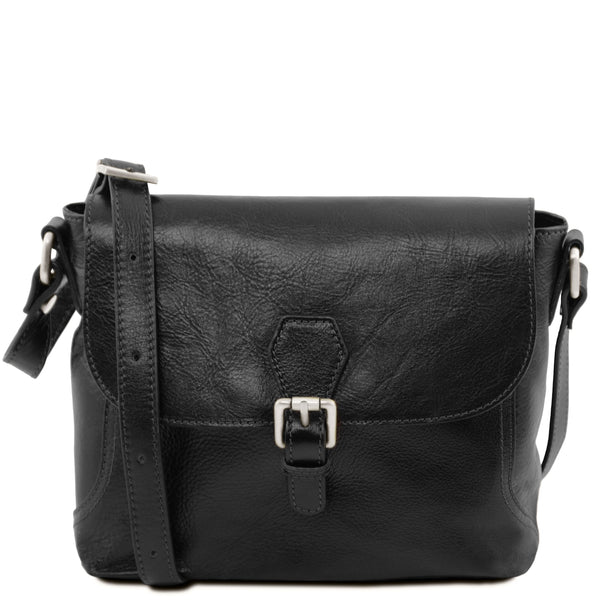 Tuscany Leather Classic 'Jody' Leather Shoulder Bag With Flap Ladies Shoulder Bag Tuscany Leather Black