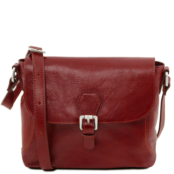 Tuscany Leather Classic 'Jody' Leather Shoulder Bag With Flap Ladies Shoulder Bag Tuscany Leather Red