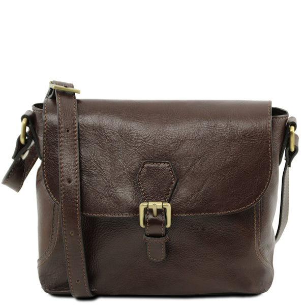 Tuscany Leather Classic 'Jody' Leather Shoulder Bag With Flap Ladies Shoulder Bag Tuscany Leather Dark Brown