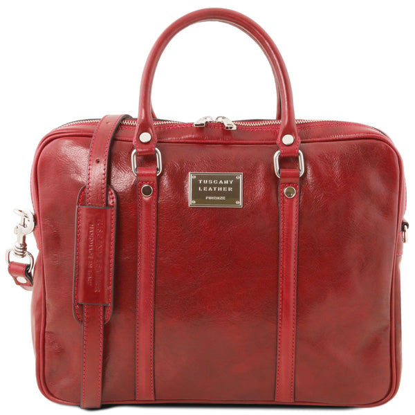 Tuscany Leather 1st Class Exclusive 'Prato' Leather Laptop Carry Briefcase Laptop Briefcase Tuscany Leather Red