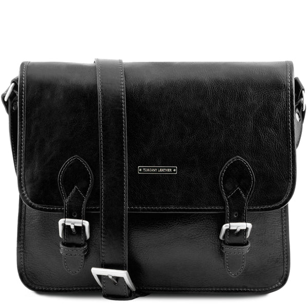 Tuscany Leather 'Postman' Leather Briefcase/Messenger Bag Laptop Briefcase Tuscany Leather Black