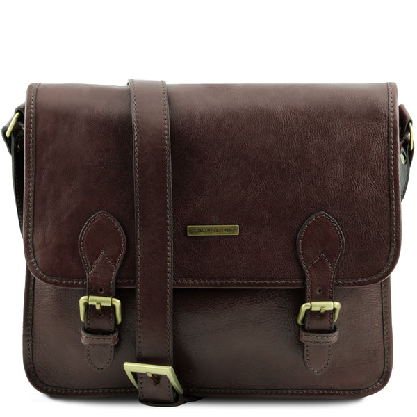 Tuscany Leather 'Postman' Leather Briefcase/Messenger Bag Laptop Briefcase Tuscany Leather Dark Brown