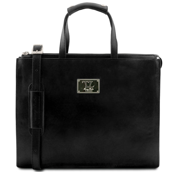 Tuscany Leather 1st Class 'Palermo' Leather Briefcase Laptop Briefcase Tuscany Leather Black