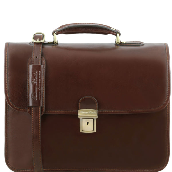 Tuscany Leather 1st Class 'Vernazza' Leather Laptop 3 Compartment Briefcase Laptop Briefcase Tuscany Leather Brown