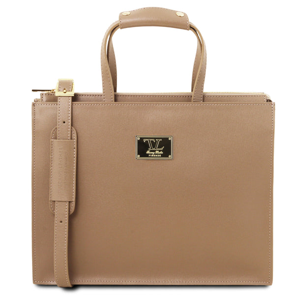 Tuscany Leather 1st Class 'Palermo' Saffiano Leather Briefcase Laptop Briefcase Tuscany Leather Caramel
