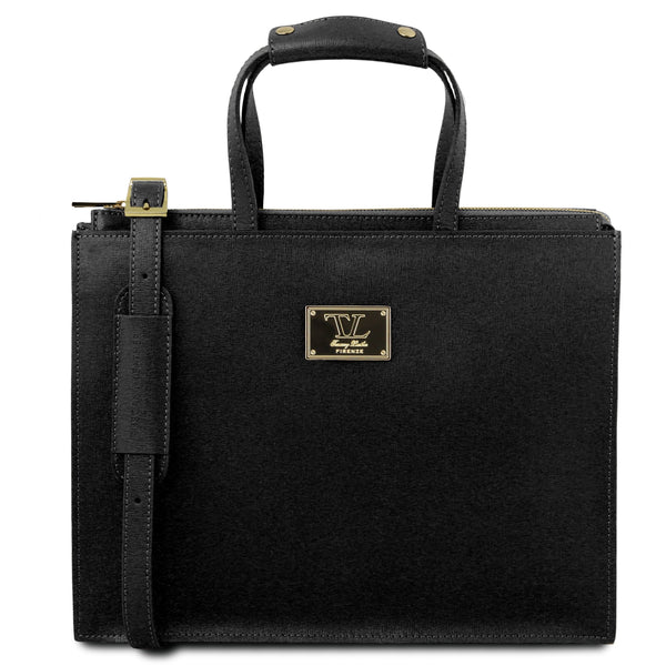 Tuscany Leather 1st Class 'Palermo' Saffiano Leather Briefcase Laptop Briefcase Tuscany Leather Black
