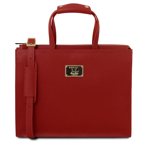 Tuscany Leather 1st Class 'Palermo' Saffiano Leather Briefcase Laptop Briefcase Tuscany Leather Red